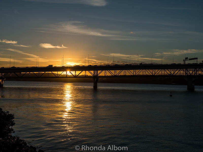 Sunset at the Auckland Harbour Bridge