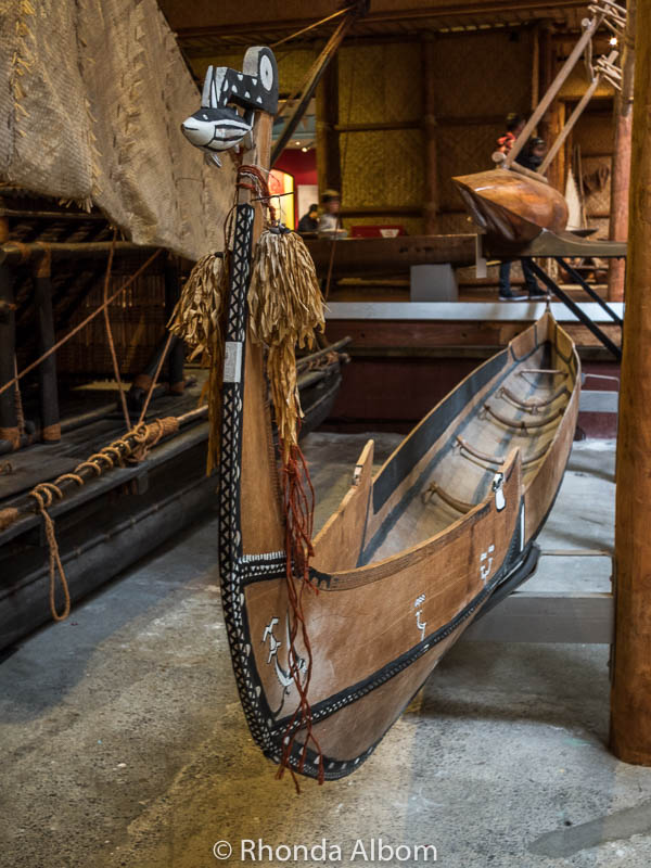 A decorative canoe at the Auckland Maritime Museum