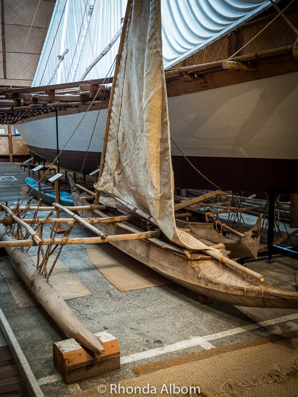Polynesian outrigger canoes at the Auckland Maritime Museum