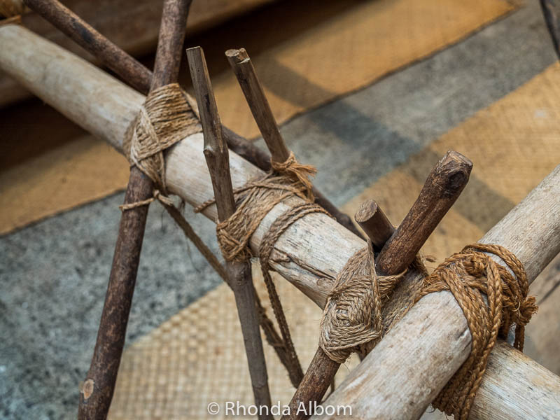A close up look at a Polynesian outrigger canoe at the Auckland Maritime Museum