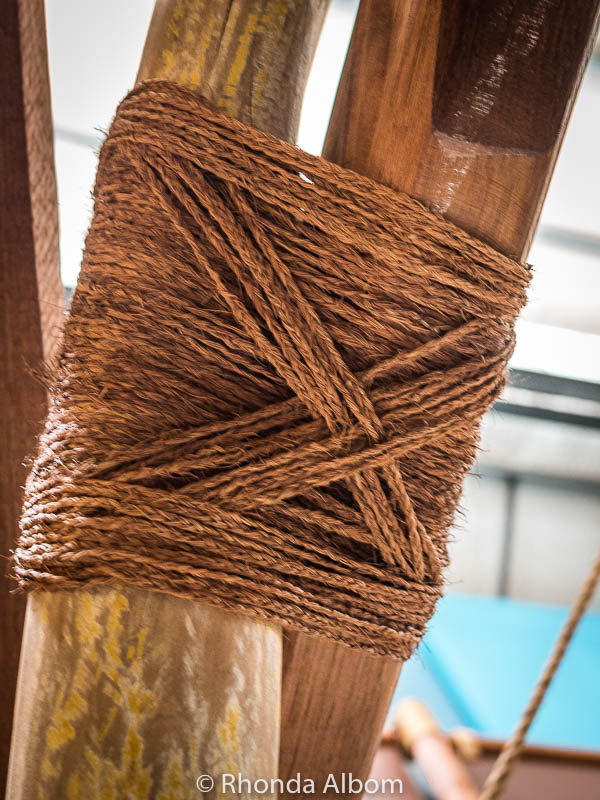 A knot holding two sections of Polynesian canoe