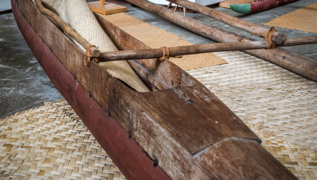 Polynesian Outrigger Canoes Close Up: Auckland Maritime Museum