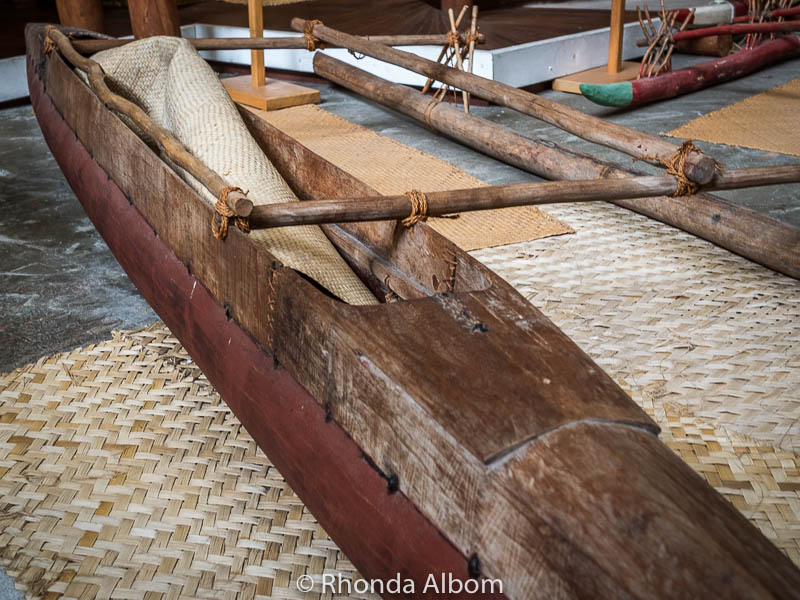 Polynesian outrigger canoe at the Auckland Maritime Museum