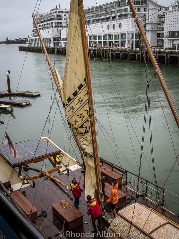 This waka belonging to the Polynesian Voyaging Society is one of many boats that visitors can sail on at the Auckland Maritime Museum