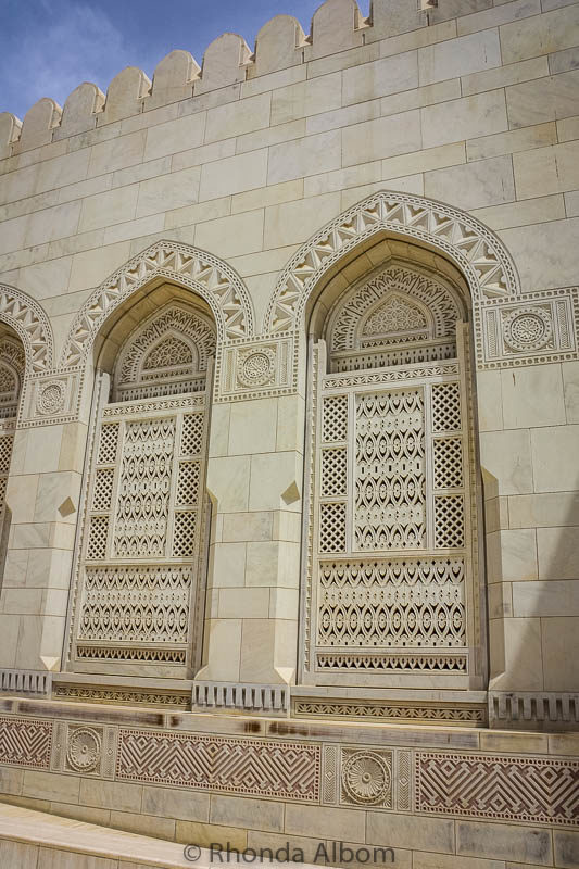 Intricately carvings at the Sultan Qaboos Grand Mosque in Muscat Oman