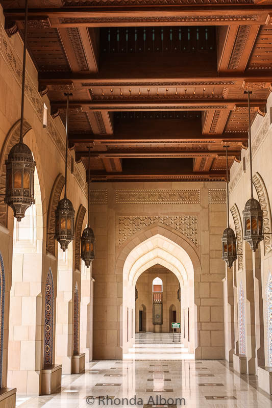 This hallway is an example of the Islamic architecture of the Grand Mosque of Oman