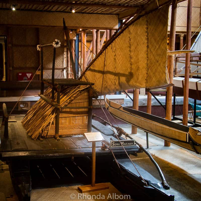 Double hulled voyage canoes at the Auckland Maritime Museum