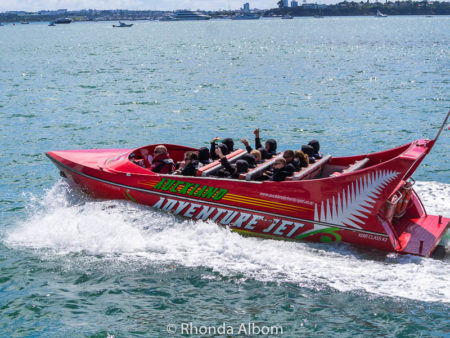 Auckland Jet Boat races along the waterfront