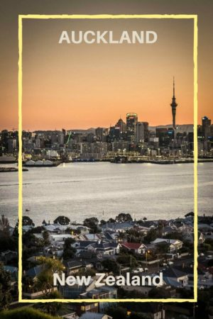 Auckland at sunset seen from Mount Victoria in Devonport New Zealand