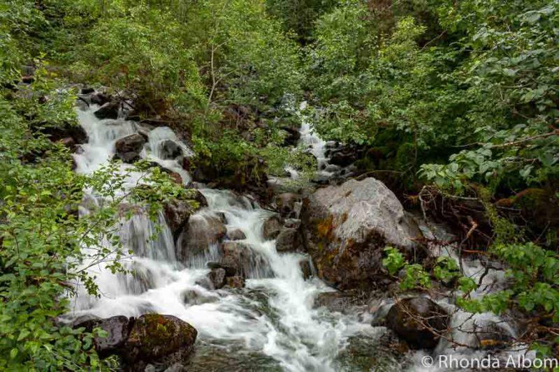 Small waterfall seen while hiking in Juneau Alaska