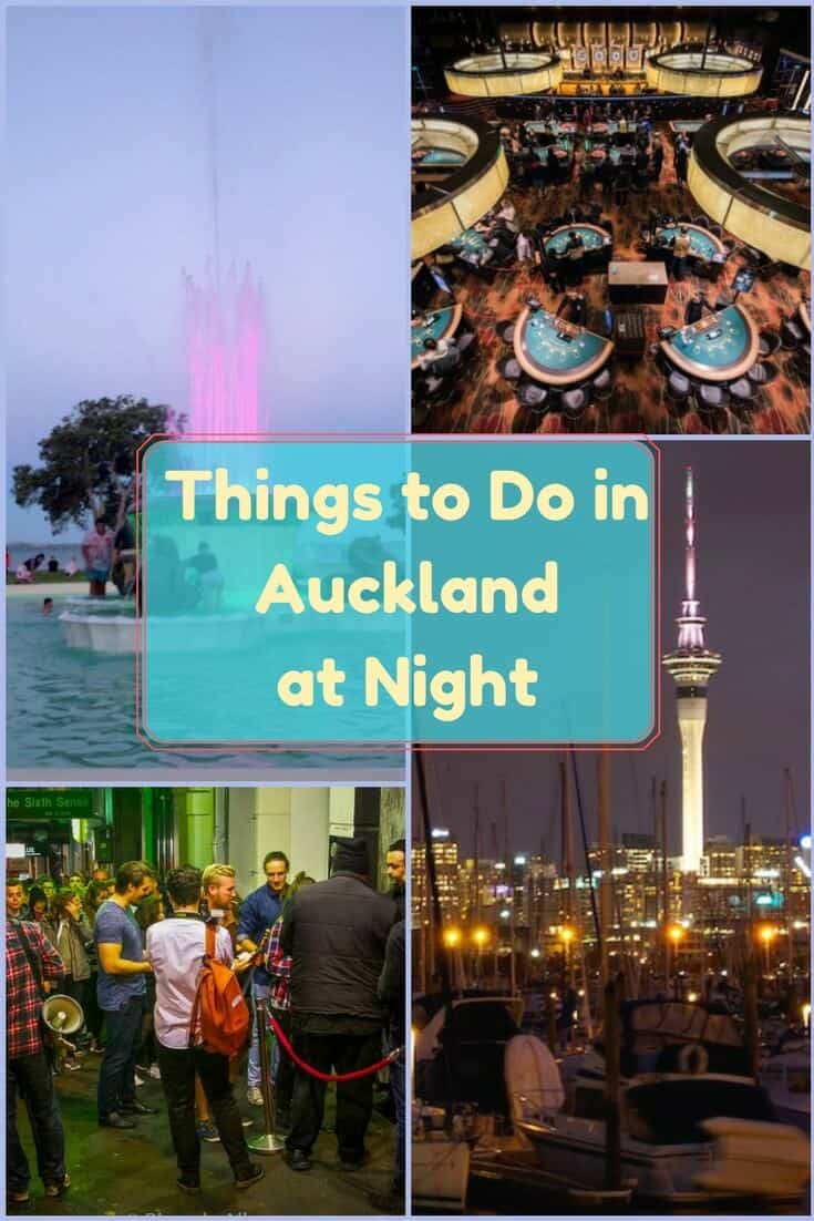 Casino, fountain lights, reverse bungy, comedy clubs, nightclubs, and bars are just a few of the many things to do in Auckland at night. #Travel #Auckland #NewZealand #nightlife