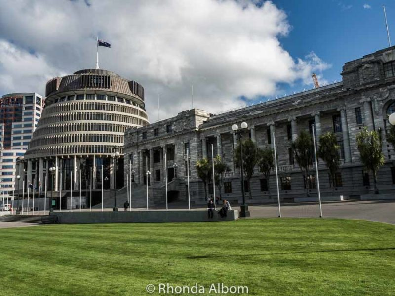 Beehive and Parliament Buildings in Wellington New Zealand