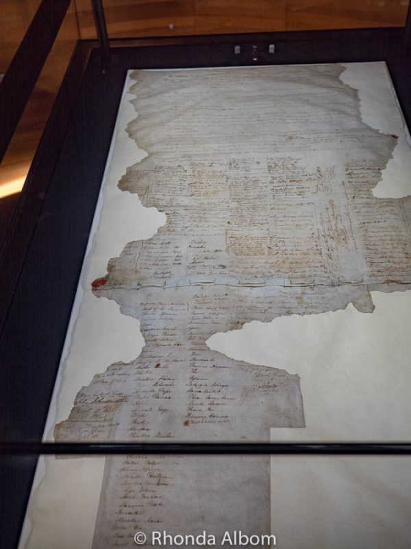 Original Treaty of Waitangi in the capital of New Zealand