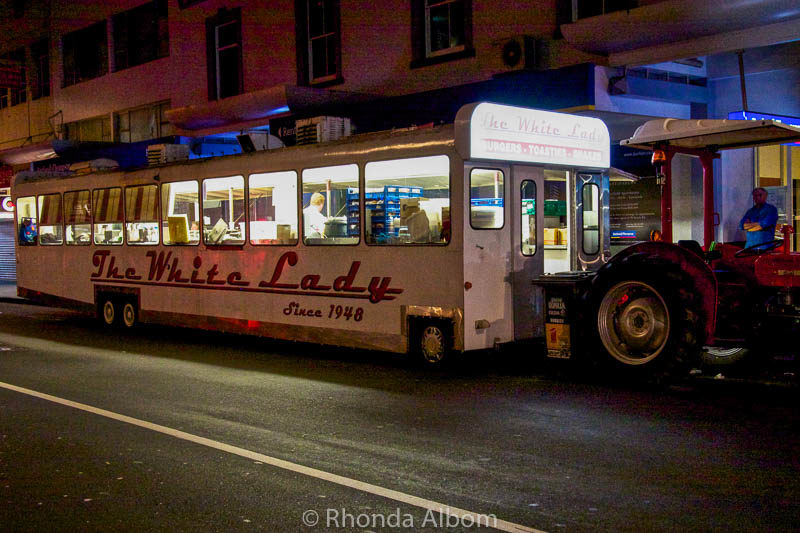 White Lady Food cart in Auckland New Zealand, one of the few places to eat late night in Auckland
