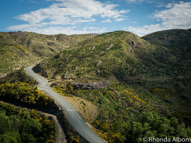 View from the Dunedin Railways Taieri Gorge Train traveling from Dunedin New Zealand