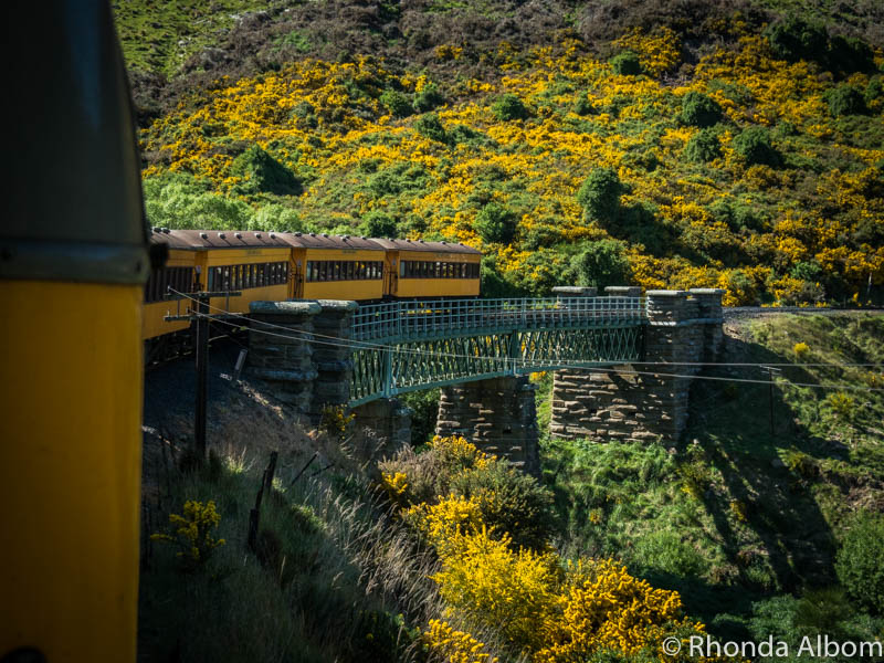 Taieri Gorge Railway passing over a bridge on the South Island of New Zealand
