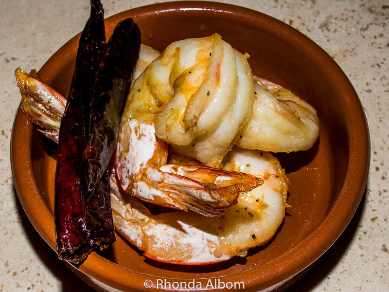 Chili gambas (shrimp) tapas at Bellota a unique Spanish Tapas restaurant in Auckland New Zealand