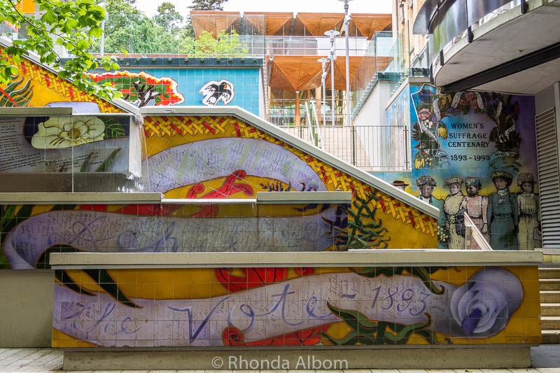 Street art on these stairs tell the story of women' suffrage in Auckland New Zealand