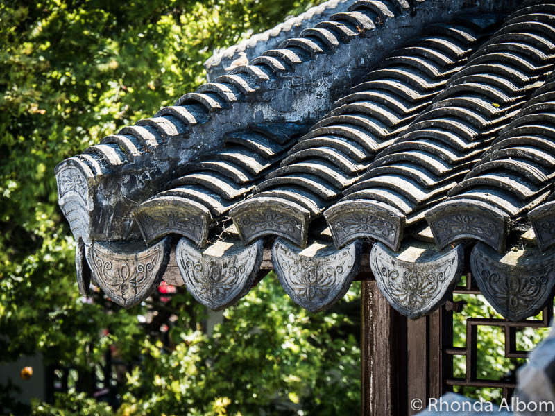 Roof tiles at the Dunedin Chinese Garden New Zealand