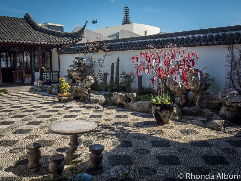 The courtyard outside of the Tea House at the Dunedin Chinese Garden New Zealand