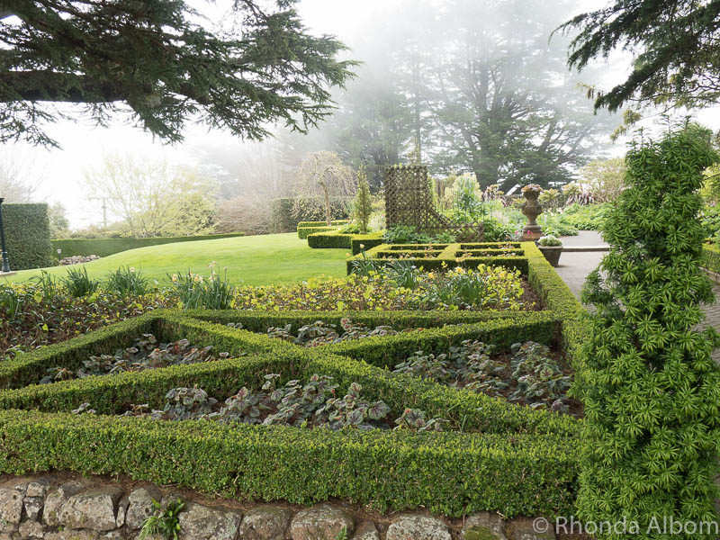 Larnach Castle gardens on the Otago Peninsula in Dunedin New Zealand