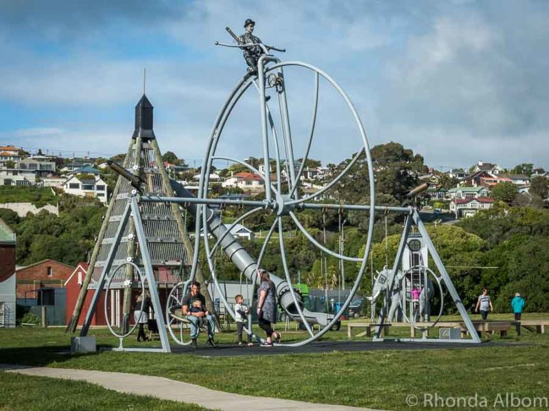 6-metre Penny Farthing on the Playground in Oamaru New Zealand