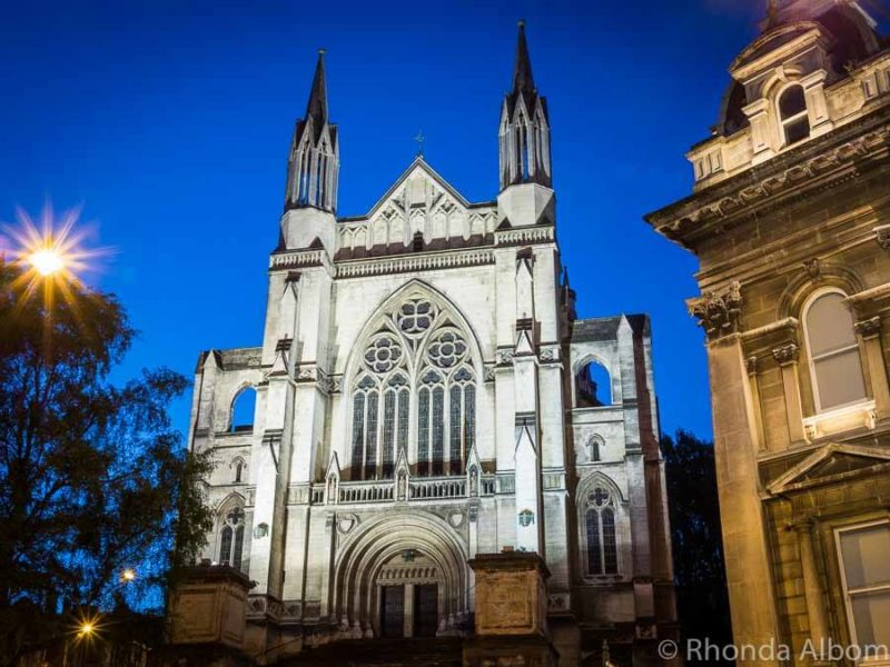 St. Pauls Cathedral at night in Dunedin New Zealand
