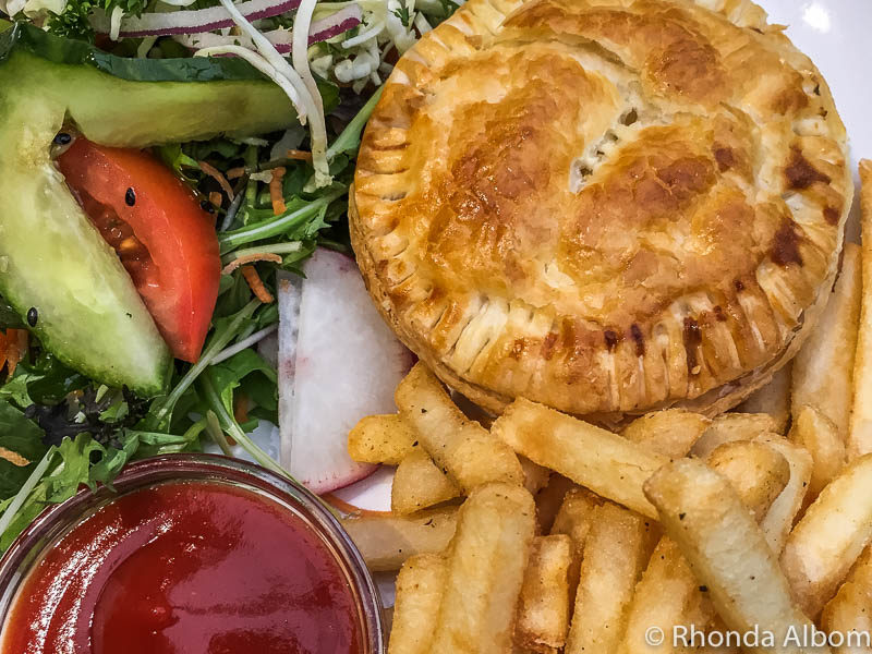 Chicken and kumara pie at the Albatross Cafe inside the Royal Albatross Centre in Dunedin New Zealand