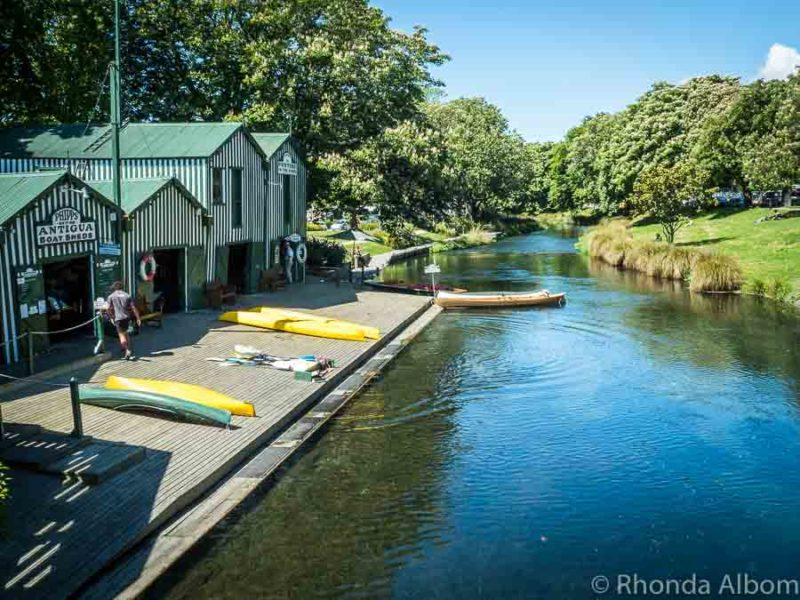 Antingua Boat Sheds, home of punting on the Avon in Christchurch New Zealand
