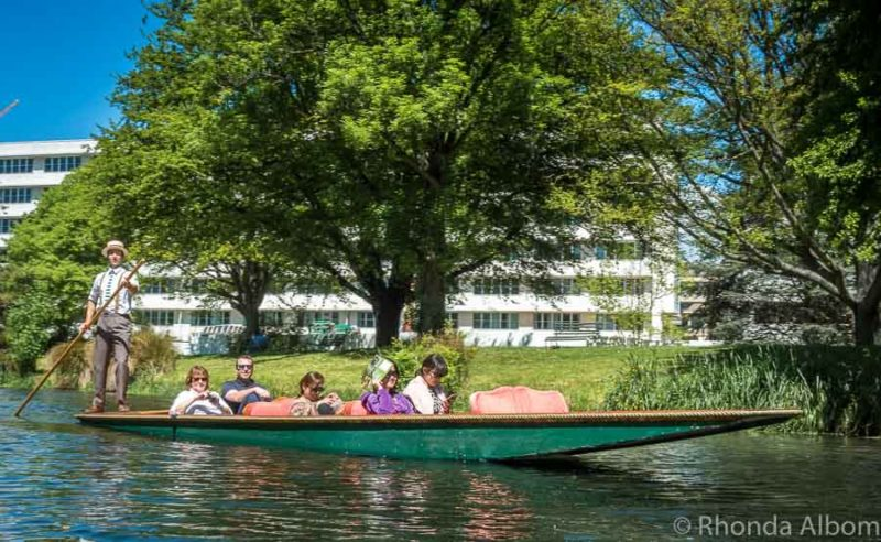 Punting on the Avon in Christchurch New Zealand
