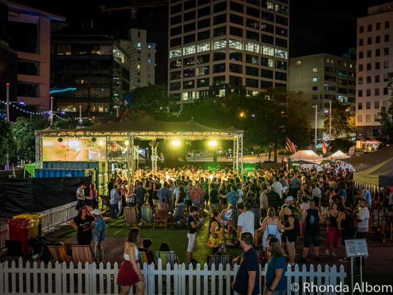 Night crowds at the Latin Fiesta Auckland in New Zealand