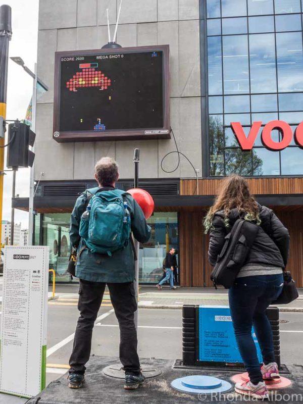 CO{DE}CREATE 2017 video game replica on street in Christchurch New Zealand
