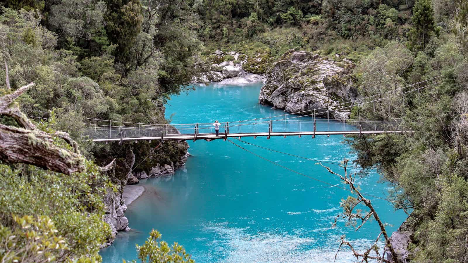 Hokitika gorge suspension bridge, South Island New Zealand