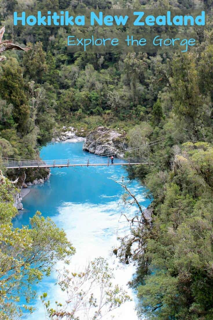 The intense turquoise waters of the Hokitika Gorge on the west coast of New Zealand's South Island are a must see. #travel #travelNewZealand #NewZealand #Hokitika #sunsests #turquoisewater