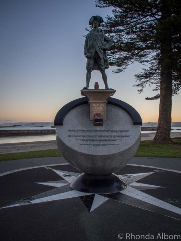 Statue of Captain James Cook stands along the waterfront where he first landed in Gisborne New Zealand