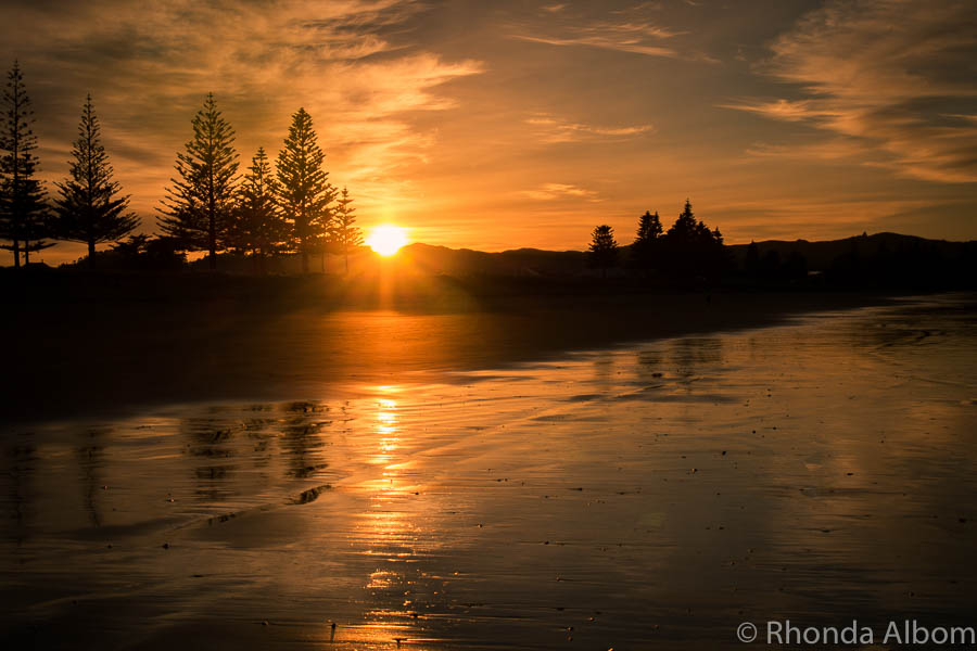 Sunrise on the beach in Gisborne New Zealand, the first place in the world to see each new day