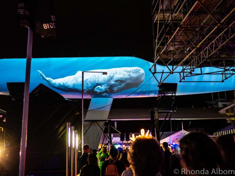 A whale projected on a hull in Auckland New Zealand