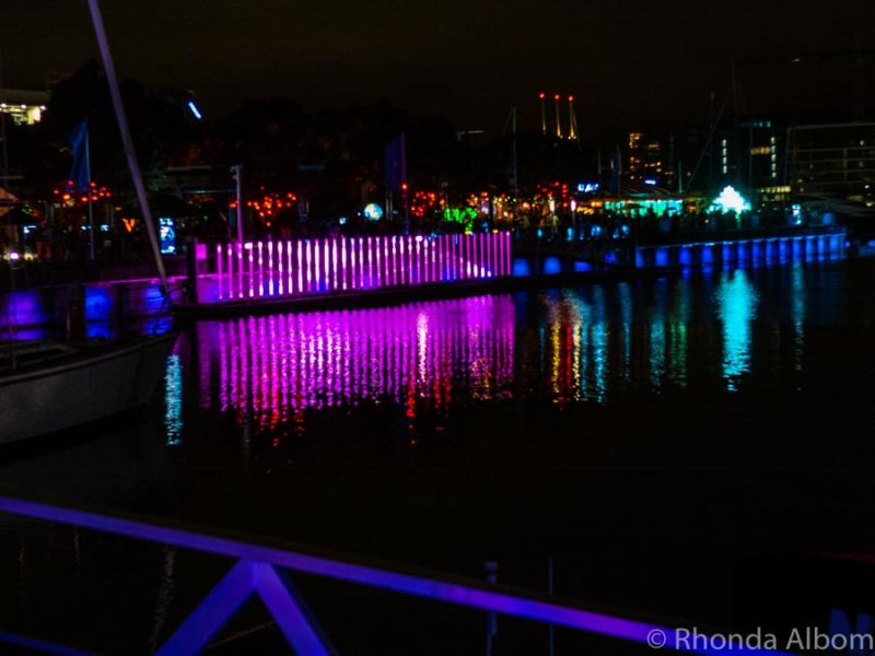 Light Field in the background at Bright Nights Light Festival in Auckland New Zealand