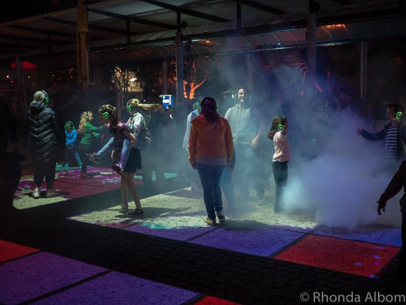 Square Dance Discotheque was lights and bluetooth headphone music in Auckland New Zealand
