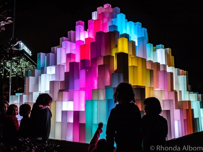 Mountain of Light at a light festival in Auckland at night - New Zealand