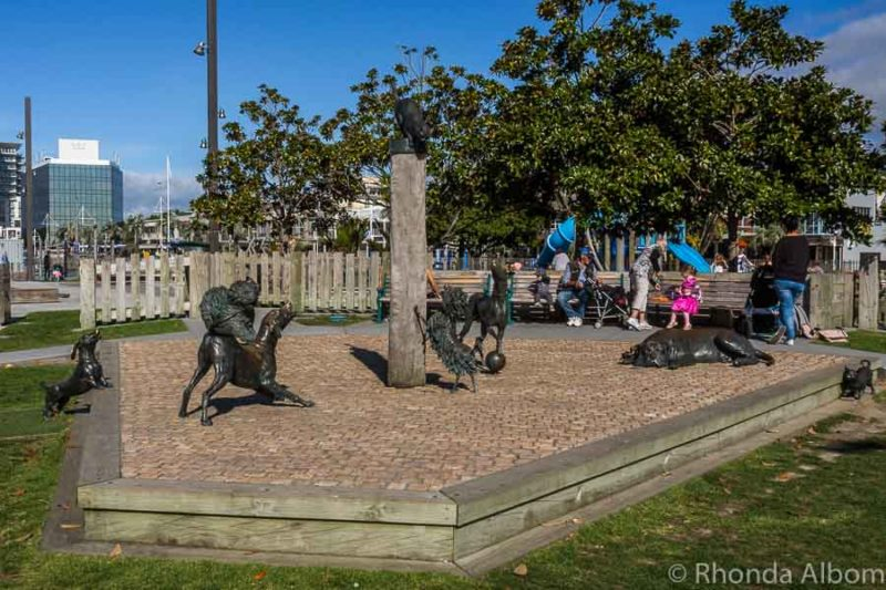 Bronze Hairy MacClary sculptures in Tauranga New Zealand