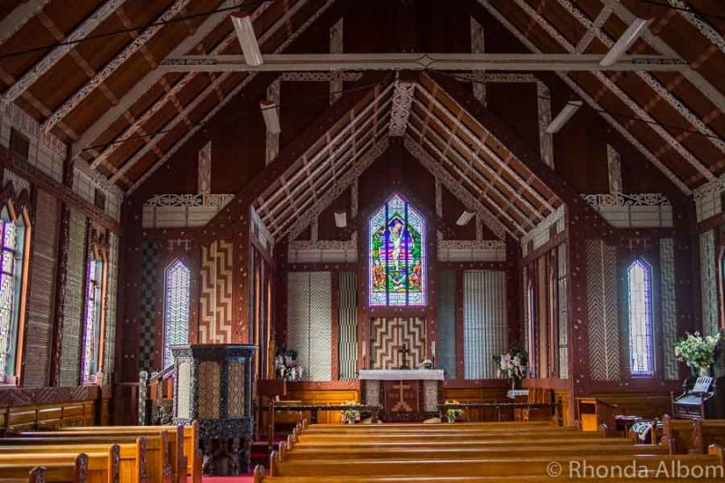 Maori decor inside St. Mary's Church in Tikitiki New Zealand
