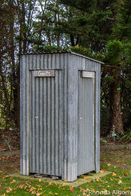 Humorous outhouse at the Water Gardens Ngatea, New Zealand