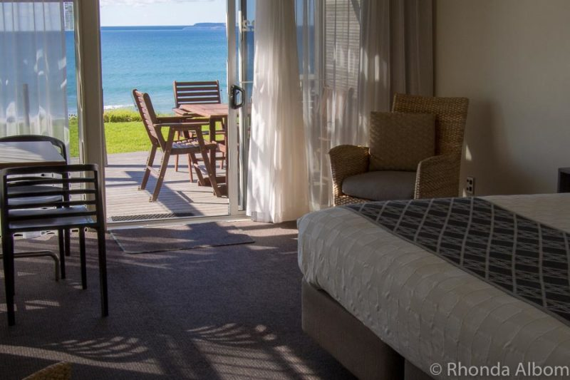 Inside our beach front villa at Papamoa Beach Resort, New Zealand