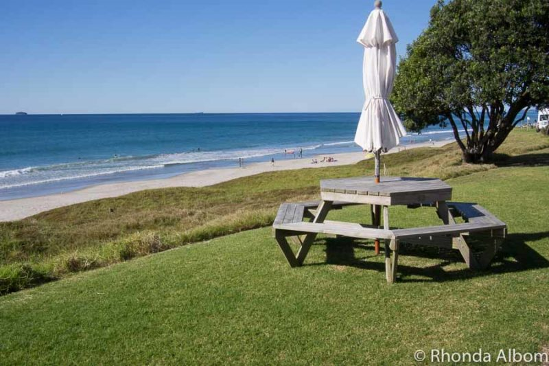 Shared picnic table outside our beach front villa at Papamoa Beach Resort