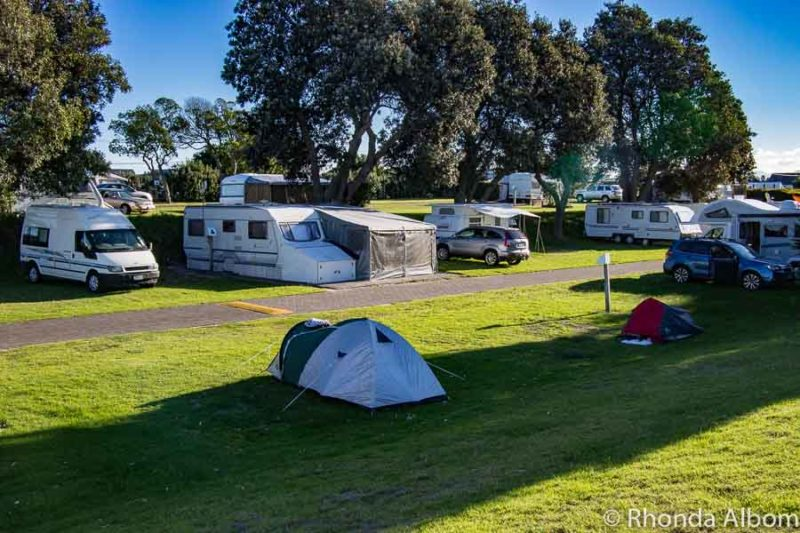 Campsites at Papamoa Beach Resort in New Zealand