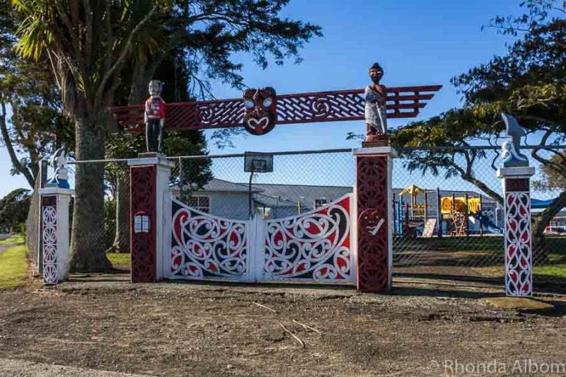 Gate to Opotiki Pirmary School in Opotiki New Zealand