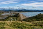 View of Tolaga Bay from top of Capitan Cook walkway in New Zealand