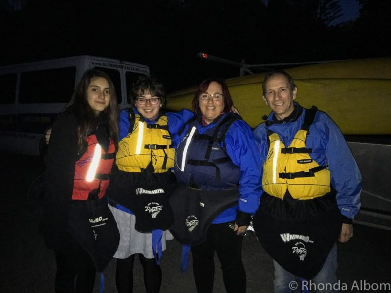Dressed and ready for the night kayak tour Bay of Plenty New Zealand
