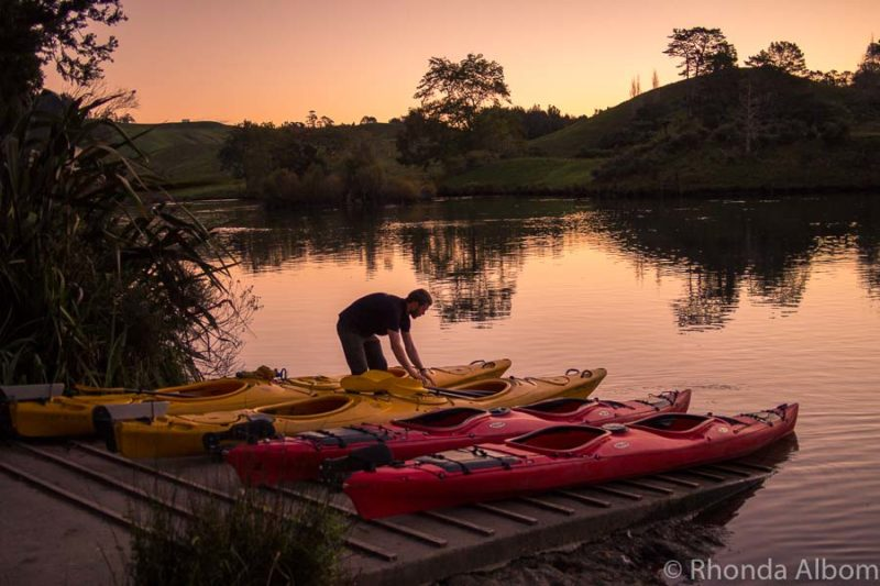 Kayaks being set up for the Waimarino Kayak Glow Worm Tour in the Bay of Plenty New Zealand